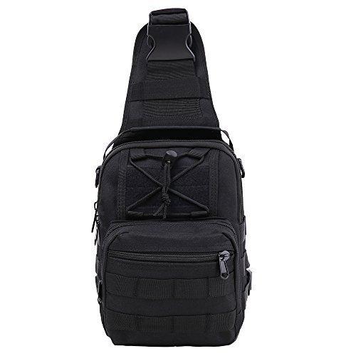 HUKOER Männer Sling Bag Chest Pack Nylon Daypack Outdoor Taktik Rucksack Herren Schultertaschen multifunktionale Brusttasche Umhängetasche