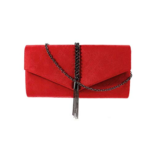 - Metal Tassel Embellished Suede Clutch Bag Shoulder Bag (Red)