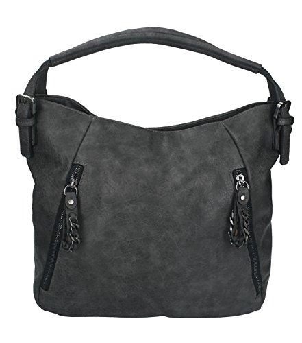 Betz Schultertasche Henkeltasche Umhängetasche Frauen Handtasche Tasche mit Reißverschluss Damen Shopper PARIS 3 Farbe grau