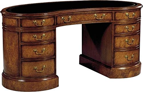 Scarborough House Kidney Desk Myrtle Burl Blue Leather Brass File Drawer