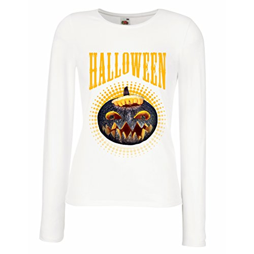 T Shirt Women Halloween Pumpkin - Clever Party Costume Ideas 2017 (Medium White Multi Color) -