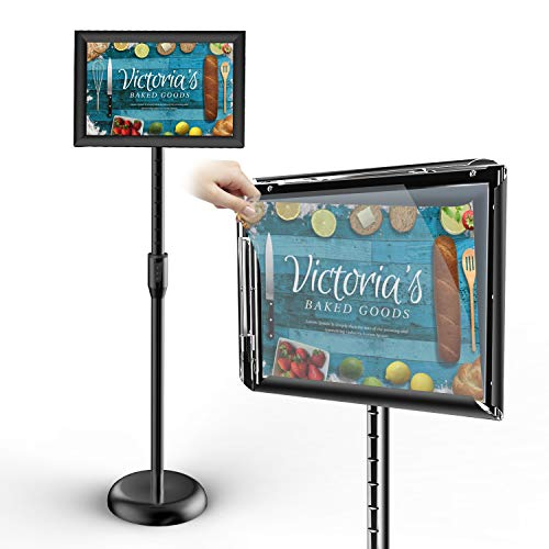 Firstand Sign Holder Floor Stand, Adjustable Pedestal with Telescoping Post, Top-Loading Horizontal or Vertical View Design,Poster Frame for 8.5 X 11 Inches Graphics (Black)