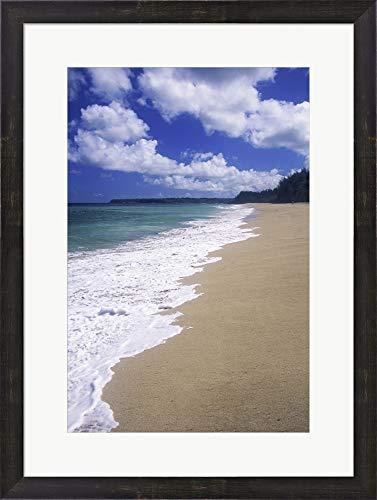 - Lumahai Beach Kauai Hawaii USA Framed Art Print Wall Picture, Espresso Brown Frame, 20 x 27 inches