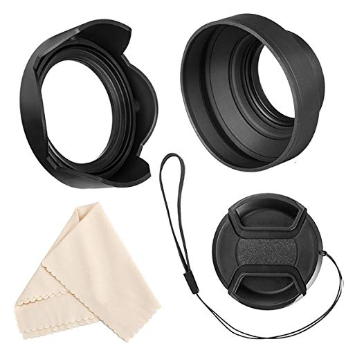 CEARI 77mm Collapsible Rubber Lens Hood for Nikon AF-S 24-70mm 70-200mm 24-120mm Microfiber Clean Cloth 85mm 17-35mm 16-35mm 12-24mm 18-300mm 10-24mm 18-35mm Lens