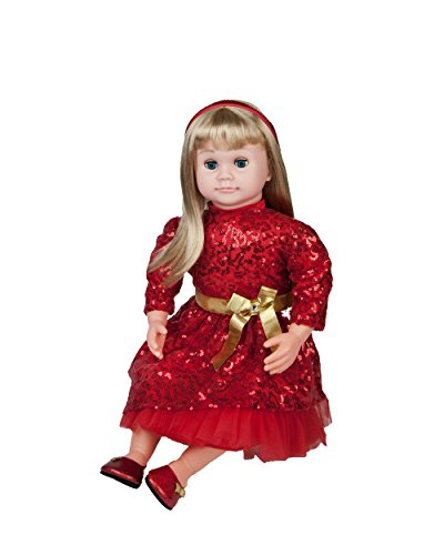 "Ask Amy 22"" Talking Dolls for Girls Age 3 and Up - Smart Interactive Kids Learning Toys, Blonde Baby Doll Red Dress"