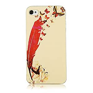 JAJAY- Original Non-mainstream Feather Butterfly and Boy Pattern Transparent Frame Back Case for iPhone 4/4S