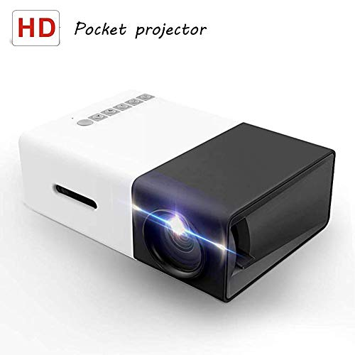 Projector, Mini Portable LED Projector, Smart Phone Pocket Projector with AV USB SD HDMI Video/Movie/Game/Home Theater Video Projector, Black Gray