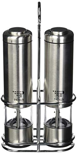 Electric salt and pepper grinder set by Patkin - Battery operated, stainless steel, refillable and adjustable ceramic coarseness core shakers - With mill holder, lids, funnel and automatic LED light