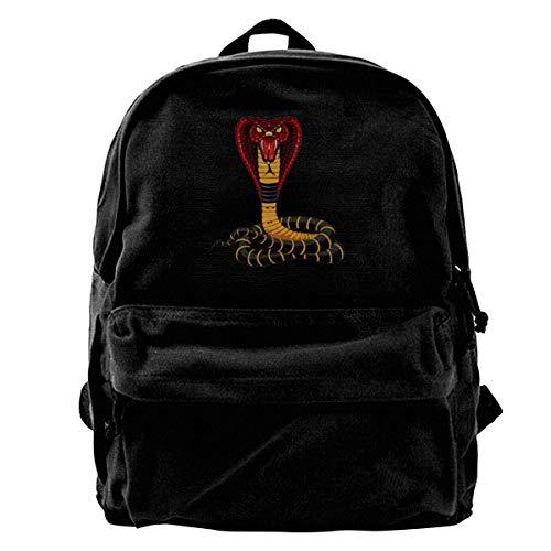 Cool Cobra Snake Women Men Casual Canvas Can Accommodate Laptops Shoulder School Bag Travel Backpack ()
