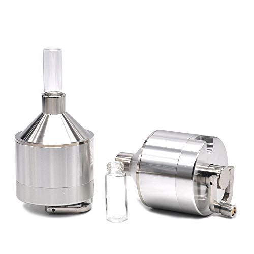 Metal Tobacco Herb Grinder - Funnel Shape Metal Powder Herb Tobacco Spice Mill Funnel Grinder Crusher with Snuff Hookahwith Glass Vial Storage Container