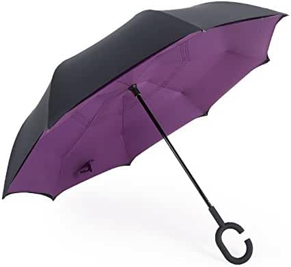 Double Layer Inverted Umbrella Cars Reverse Umbrella,Euow Windproof UV Protection Folding Umbrellas for Car and Outdoor Use With C-Shaped Handle and Carrying Bag