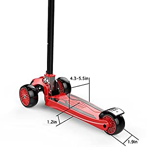 "Kids Kick Scooter Childern Outdoor Toy/LED Flicker 2""widthX3 PU Flashing 3 Big Wheels/Pedal with Stainless Steel/Folding 4 Adjustable Height T Bar/Safety Gravity Steering /4-13 Years Old Red"