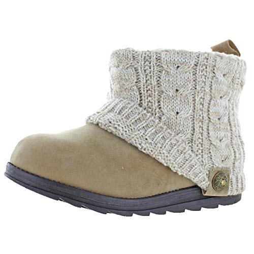MUK LUKS Patti Women's Cable Knit Cuff Booties Boots Tan Size 8 (Womens Suede Wedge Sheepskin)