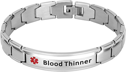 Elegant Surgical Grade Steel Medical Alert ID Bracelet for Men and Women (Mens, Blood Thinner)