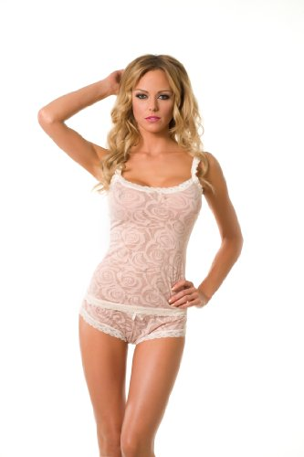 Velvet Kitten Girlfriend Sexy Boyshort and Cami Set in Nude 361605 Medium (Style Lace Cami Set)