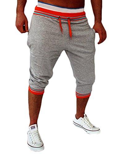 Tianve Mens Casual Capri Pants Shorts Drawstring Striped Harem Baggy Jogging Trousers (Gray Red, XL)
