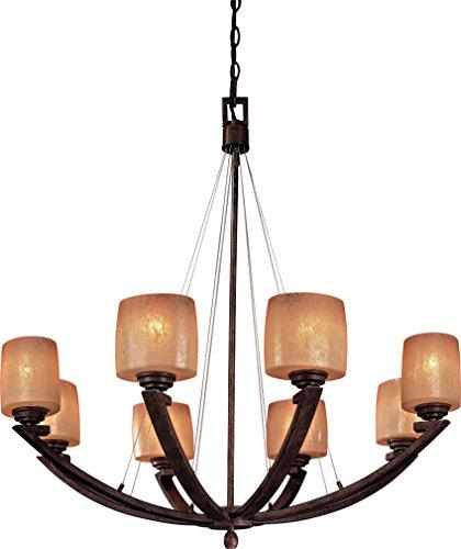 Minka Lavery Chandelier Pendant Lighting 1188-357, Raiden Large Glass 1 Tier Dining Room, 8 Light, 800 Watts, Iron