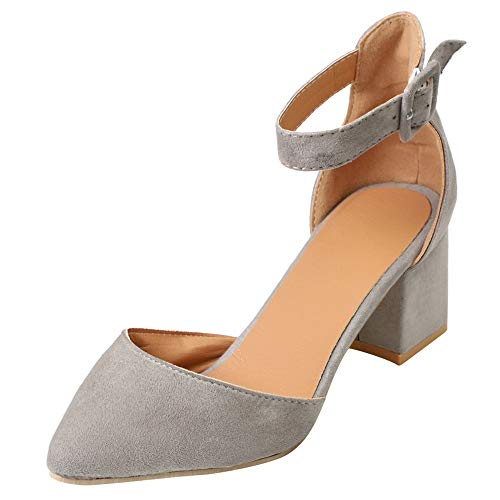 Xinantime Womens Pumps Sandals Pointed Toe Ankle Strap Buckle Summer Low Heel Dress Shoes Gray ()