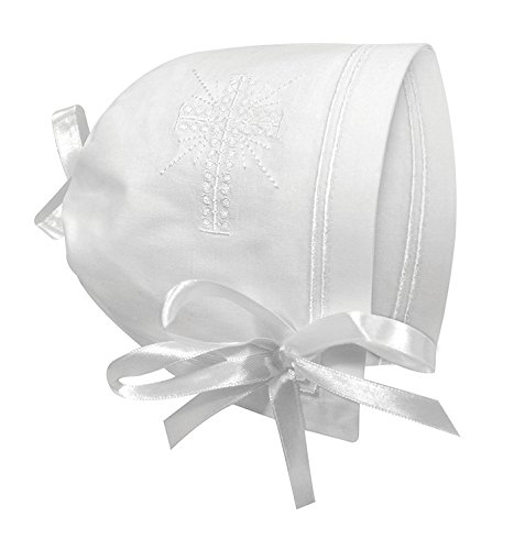 Keepsake Cutwork Handkerchief Christening Bonnet with Straight Hem, White ()
