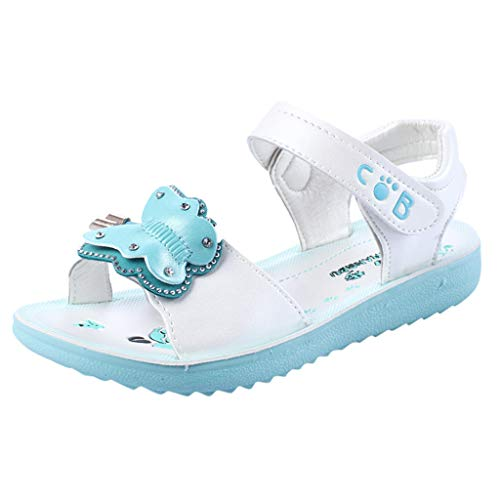 Respctful✿Kids Girl Leather Sandals Causl Open Toe Adjustable Flat Hook & Loop Shoes Cute Flower Outdoor and Indoor Mint Green