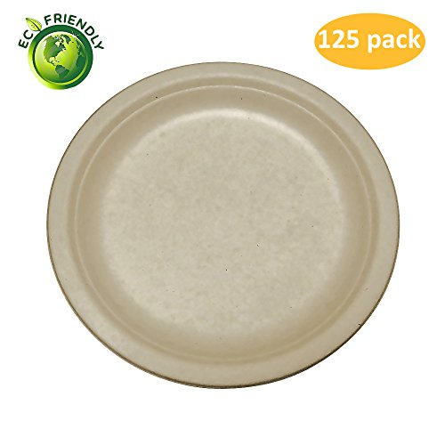 Greenpeak Disposable Plates Set (125-Pack) Dinner, Appetizers, Desserts | Large, Round Dinnerware | Eco-Friendly, Biodegradable, Compostable | Microwave (Wheat Round Serving Plate)