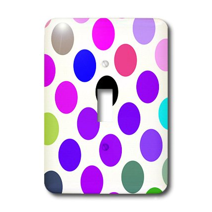 Dot Clock Brown - 3dRose lsp_17411_1 Brown And Purple Colorful Dots Toggle Switch