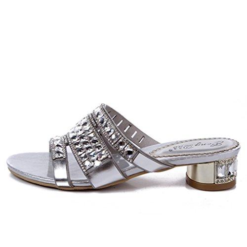 Pantofole Crc Da Donna Sandali Con Tacco Basso In Microfibra Argento Cromato Da Donna Casual Confortevole