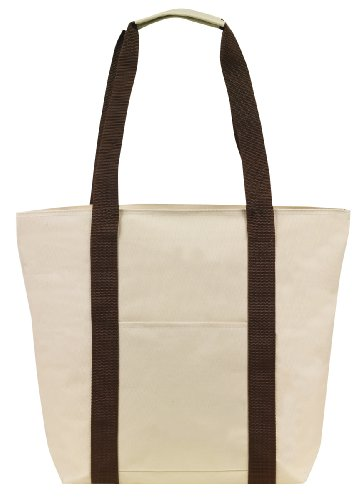 Large Over the Shoulder Tote with Zipper (Natural/Brown), Bags Central