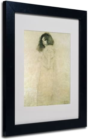 Portrait of a Young Woman 1896-97 Artwork by Gustav Klimt in Black Frame, 11 by 14-Inch