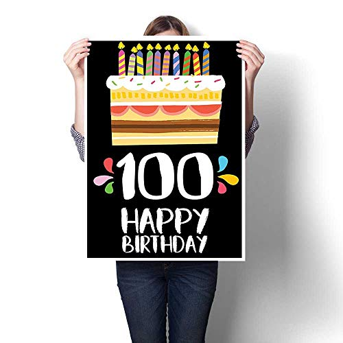 Canvas Wall Art Romantic Oil Painting,Decorations Old Legacy 100 Birthday Party Cake Candles on Black Backdrop Multicolor Oils,Prints on Canvas Painting,24