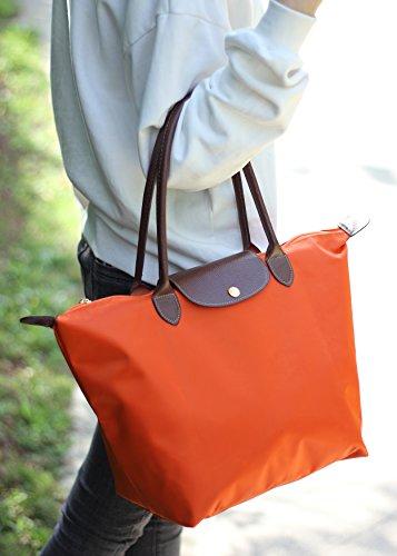 Cabas À Courses Pochettes Imperméables Kaki Sacs Shopping Moyen Pour De Nylon femme Febbya Pliable Voyage Orange Main Plage 1d4qW