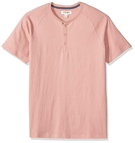 Goodthreads Men's Short-Sleeve Sueded Jersey Henley, Pink, XX-Large Tall