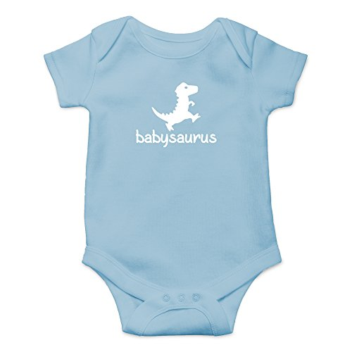 Crazy Bros Tees Babysaurus - Little Baby Dino Funny Cute Novelty Infant One-Piece Baby Bodysuit (12 Months, Light Blue)
