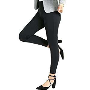Bamans Yoga Dress Pants, Tummy Control Workout Leggings for Women, Office Strechy Skinny Pants (Black, X-Small)