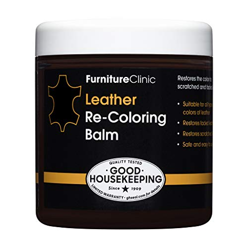 Furniture Clinic Leather Recoloring Balm (8.5 fl oz) - Leather Color Restorer for Furniture, Repair Leather Color on Faded & Scratched Leather Couches - 16 Colors of Leather Repair Cream (Black)