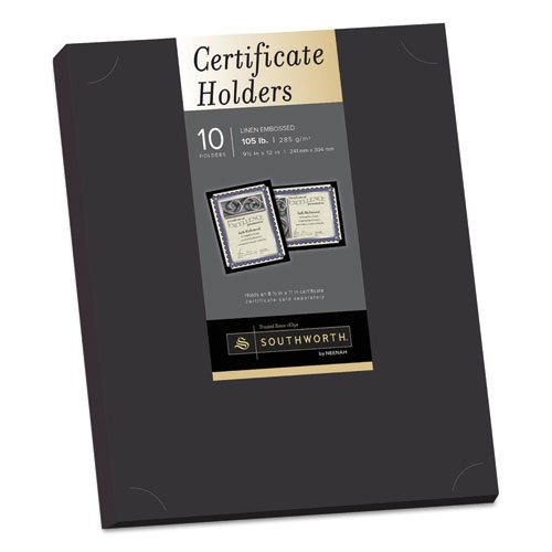 Certificate Holder, Black, Linen, 105 lbs., 12 x 9-1/2, 10/Pack, Sold as 10 Each ()