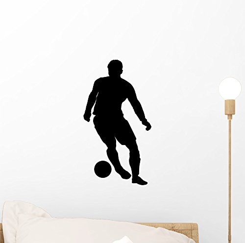 Dribbling Soccer Silhouette Wall Decal by Wallmonkeys Peel and Stick Graphic (12 in H x 6 in W) WM83788