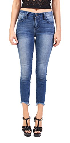 c0942fc995 Ci Sono Cello Jeans Women Middle Rise High Low Raw Hem Cropped Skinny Jeans  1 Medium