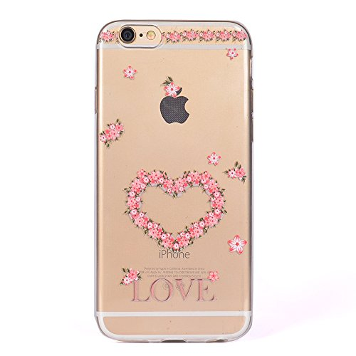 iPhone 6 / 6S Plus Coque , Leiai Mode Love Ultra-mince Transparent Clear Silicone Doux TPU Housse Gel Etui Case Cover pour Apple iPhone 6 / 6S Plus