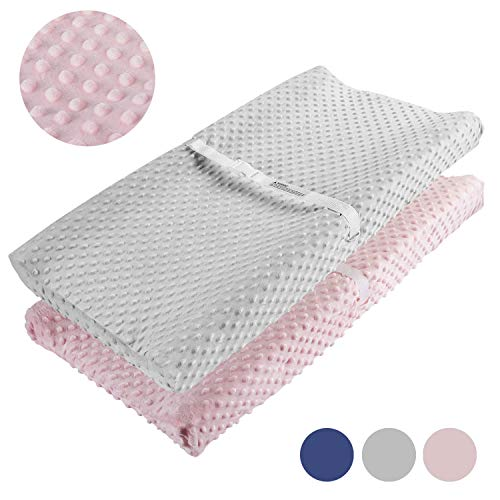 Changing Pad Cover, AceMommy Ultra Soft Minky Dots Plush Changing Table Covers Breathable Changing Table Sheets Wipeable Diaper Changing Pad Cover for Infants Baby Boy Pink/Grey (2 Pack)