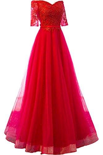 Partykleider Tuell Rock Linie Damen mia La Ballkleider Rot Abendkleider Braut Bodenlang Rot Langarm A Spitze x4WwzHUqF