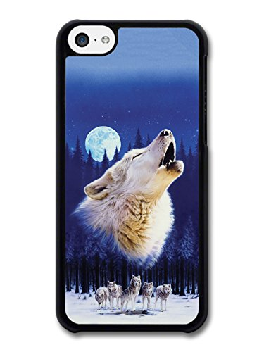 Wolf Howling and Night Moon 3 Wolves in the Forest Illustration case for iPhone 5C