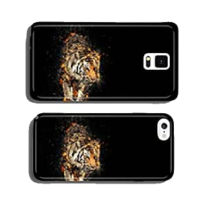 Burning tiger over black background cell phone cover case Samsung S5