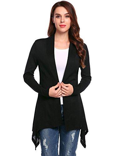 ELESOL Women's Long Sleeve Open Front Irregular Hem Drape Casual Tunic Cardiagns Black,M