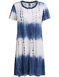 Women's Short Sleeve Tie Dye Ombre Swing Tunic T-shirt Dress