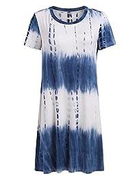Romwe Loose Casual Short Sleeve Tie Dye Ombre Swing T-Shirt Tunic Dress