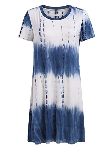 Romwe Loose Casual Short Sleeve Tie Dye Ombre Swing T-Shirt Tunic Dress Navy M ()