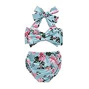 Cute Baby Girl Floral Bow Halter Bikini Set Swimsuit Swimwear Bathing Clothes Sets (70(0-6M), Blue)