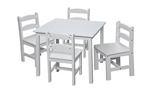 Gift Mark Square Table Set with 4 Chairs, White by Gift Mark
