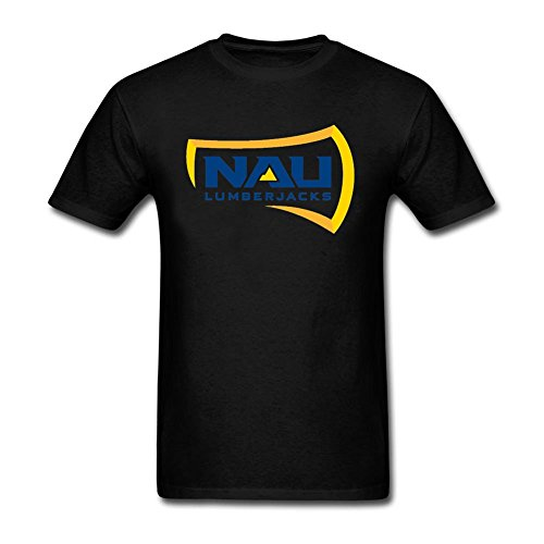 Northern Arizona University Logo Design Men Crew Neck Printed T-Shrit Black S (Wet T Contest)